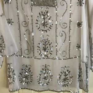 White Diamonds Tops - NWOT Beaded Sheer Tunic